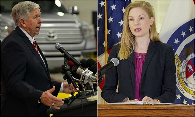 Gov. Mike Parson and Auditor Nicole Galloway. - TOM HELLAUER/DANNY WICENTOWSKI