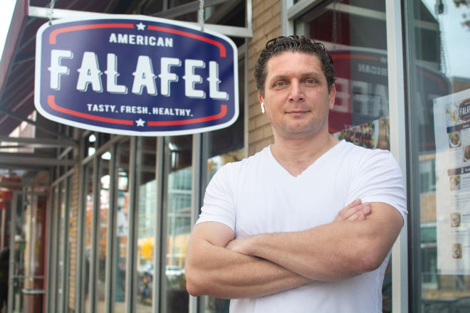 Mohammed Qadadeh left behind a successful career to follow his restaurant dreams at American Falafel. - ANDY PAULISSEN