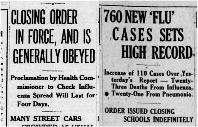 Two 1918 headlines report a four-day shutdown order issued November 9 (left) and followed on November 28 (right) by a Thanksgiving-day spike of 760 cases. - MISSOURI HISTORY MUSEUM/NEWSPAPERS.COM