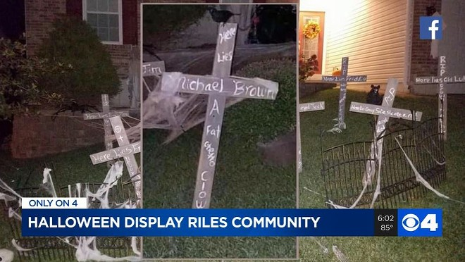 Photos of James Daly's Michael Brown-bashing Halloween display led to an internal investigation in October, KMOV reported. - SCREENSHOT VIA KMOV