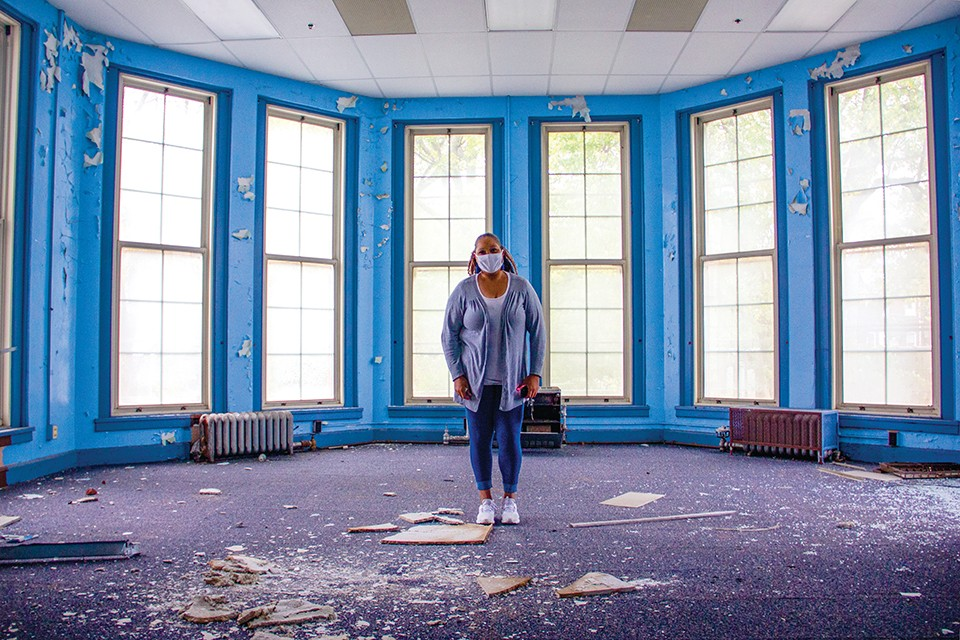 18th Ward Democratic Committeewoman Yolonda Yancie stands in what remains of her old kindergarten room in Euclid School in Fountain Park. - DANNY WICENTOWSKI