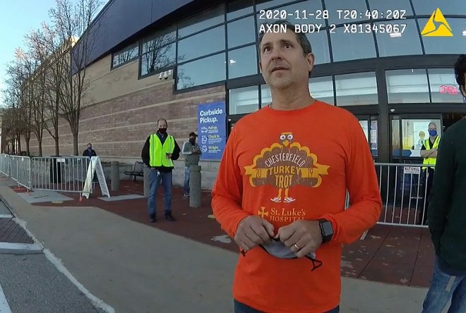 A Chesterfield police officer's bodycam records Councilman Tom DeCampi getting banned from Best Buy. - SCREENSHOT
