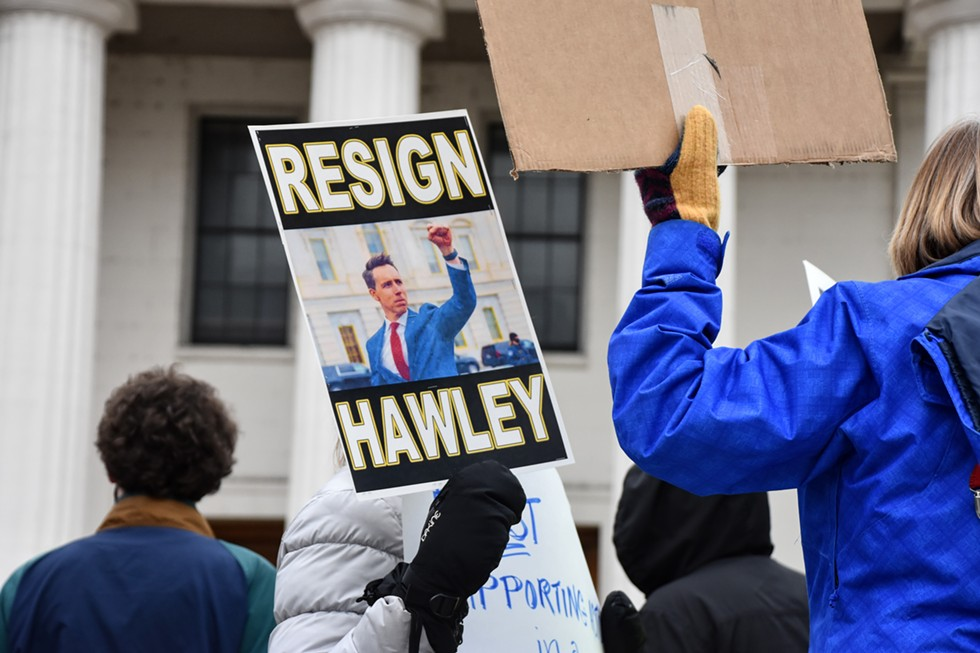 A photo of Hawley saluting Trump supporters is in heavy use by his critics. - DOYLE MURPHY