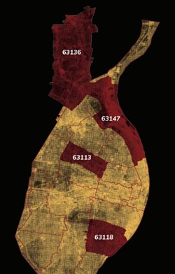 A map of St. Louis region's deadliest zip codes for police shootings. - ARCHCITY DEFENDERS