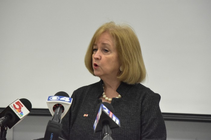 Mayor Lyda Krewson on Monday discusses the jail revolt with reporters. - LYDA KREWSON