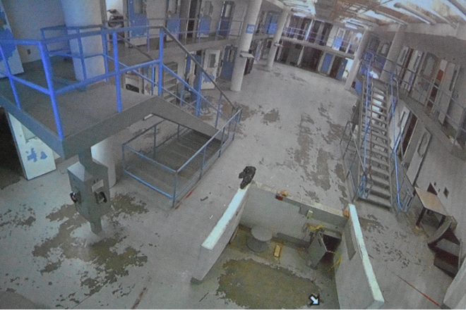 A photo of the video live feed showing the fourth floor of the City Justice Center on Monday. - DOYLE MURPHY