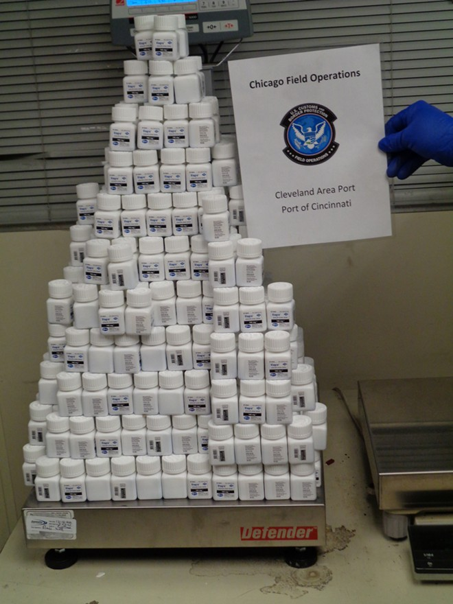A suitably phallic presentation of the ill-gotten pills. - U.S. CUSTOMS AND BORDER PROTECTION
