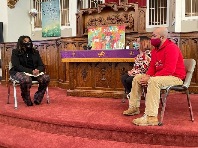 Congresswoman Cori Bush meets with Carly and Alex Garcia last week in Christ Church in Maplewood. - COURTESY CORI BUSH