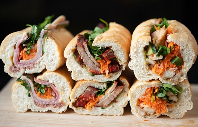 BBQ pork banh mi with char siu pork belly. - MABEL SUEN