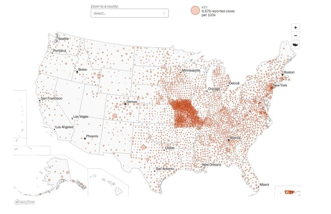 A COVID-19 case map from the Washington Post reflects a dump of misdated Missouri data. - SCREENSHOT VIA WASHINGTON POST