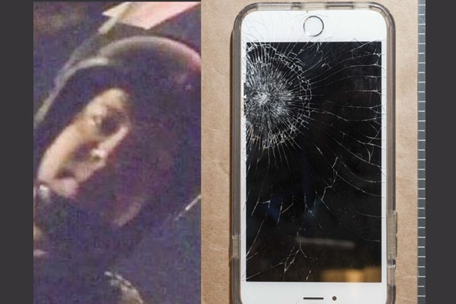 (Left) The face of a St. Louis officer in riot gear, identified by prosecutors as Christopher Myers, in a video shot by Luther Hall. (Right) Luther Hall's smashed phone. - U.S. ATTORNEY/COURT EXHIBIT