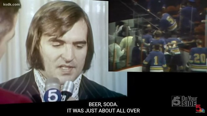 Bob Plager describing what might be the craziest, and messiest, hockey fight in history. - SCREENSHOT VIA KSDK