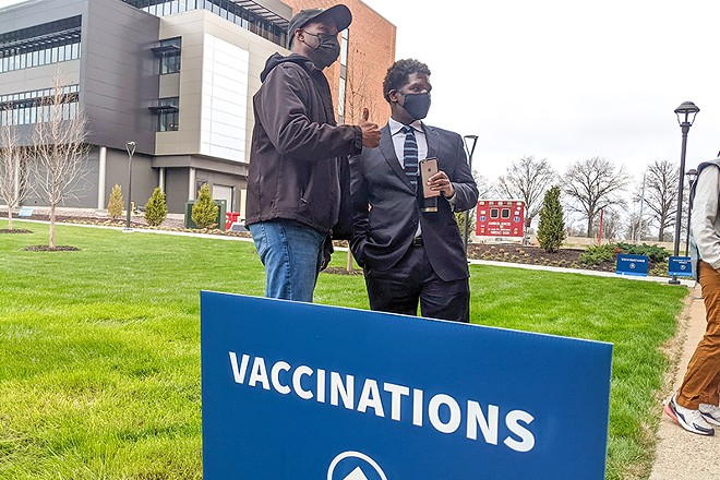 St. Louis  health director Dr. Fredrick Echols was on-hand to congratulate vaccine-getters on March 26. - DANNY WICENTOWSKI