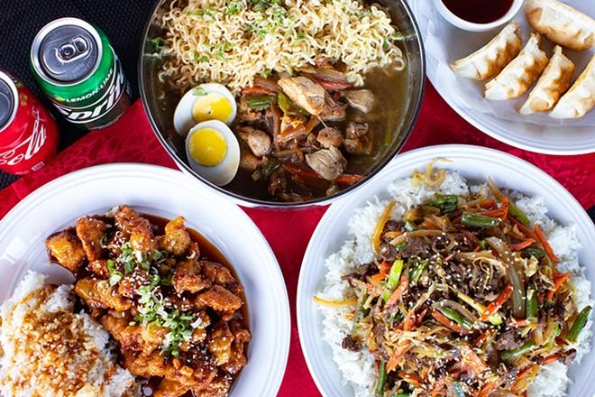 Chicken ramen, mandu, fire chicken gangjung and bulgogi beef bowl. - MABEL SUEN