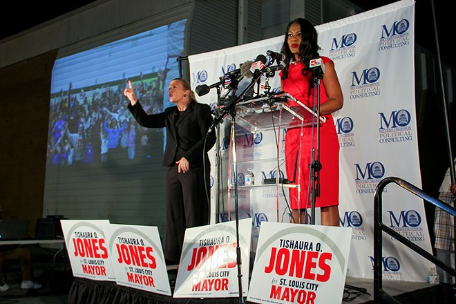 St. Louis mayor-elect Tishaura Jones, shown here mid-victory speech on April 6, has caught the attention of Fox News. - DANNY WICENTOWSKI