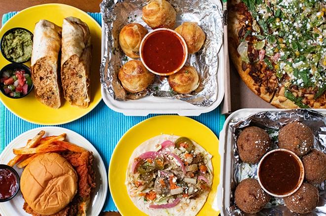 Chicken tinga burrito, garlic knots, The Rico Pi pizza, Rico chicken sandwich, carnitas taco and Rico-cinis. - MABEL SUEN