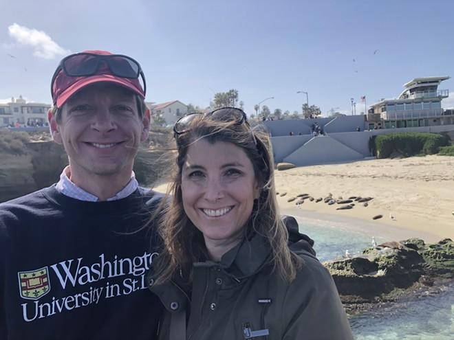 Jeffrey Davis and his wife, Tasha, watch harbor seals on a beach in San Diego. - JEFFREY DAVIS