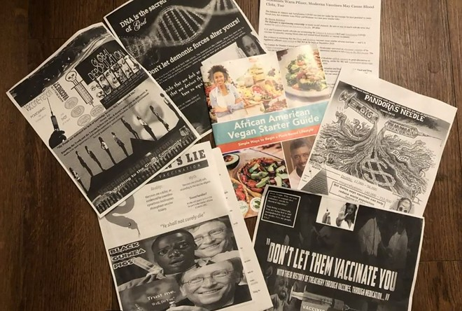 A few examples of the anti-vaccine literature that showed up in St. Louis this weekend. - SCREENSHOT VIA KMOV