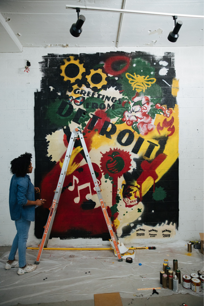 Detroit Muralist Desiree Kelly @desireekellyart  / PHOTO CREDIT: Tristan Oliver @topshottah