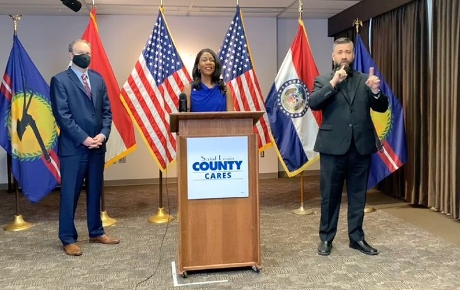 St. Louis Mayor Tishaura Jones and County Executive Sam Page (left) announce the latest health order. - SCREENSHOT