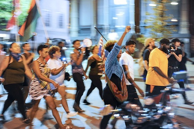 Protesters march through St. Charles in 2017 following the acquittal of ex-St. Louis police officer Jason Stockley. - KELLY GLUECK