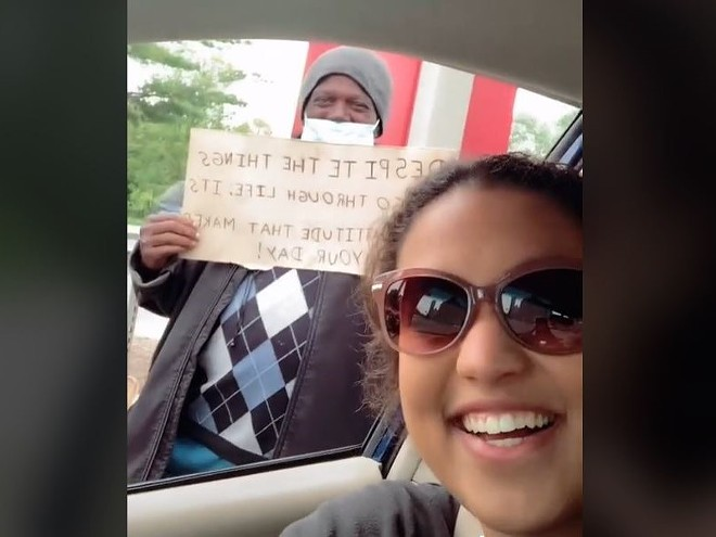 As shown in a viral TikTok, St. Louis college student Maya Nepos and a recipient of her care packages. - SCREENSHOT VIA TIKTOK/MAYA2960