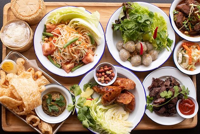 A selection of dishes that make Chiang Mai unlike any restaurant in town: som tum, sakoo sai moo, gaeng hung lay, kab moo, sai oua and nua sawaan. - MABEL SUEN