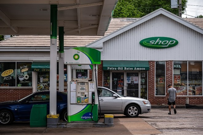 The BP gas station on Bates Avenue, seen on May 17, 2021, in St. Louis. - MICHAEL B. THOMAS FOR THE INTERCEPT