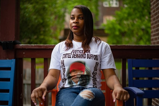 Ericka Freeman, sister of Cortez Bufford, poses for a portrait on May 16, 2021, in St. - MICHAEL B. THOMAS FOR THE INTERCEPT