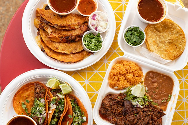 A selection of items from Tacos La Jefa: small quesabirrias, birria tacos and birria plate. - MABEL SUEN