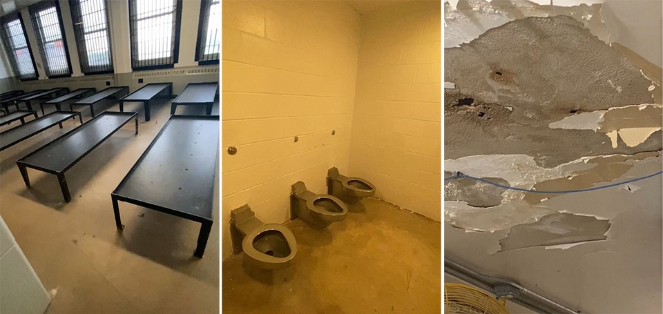 Scenes from a May 7 inspection, filmed by Heather Taylor, who viewed old dormitories and bathrooms deemed inhumane under current jail standards. - SCREENSHOTS VIA HEATHER TAYLOR VIDEO
