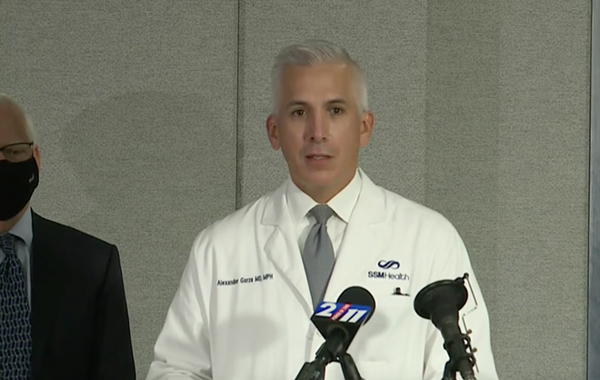 Dr. Alex Garza of the St. Louis Metropolitan Pandemic Task Force calls for a statewide mask mandate on Friday, Nov. 13, 2020. - SCREENSHOT