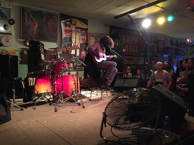 Lou Barlow of Dinosaur Jr. plays a soft, quiet set at the Way Out Club in St. Louis. - JAIME LEES