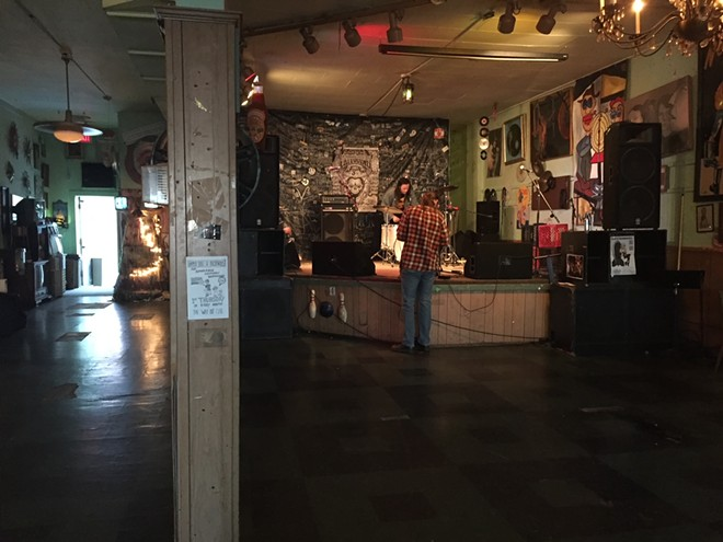 St. Louis band Trauma Harness sets up for a big night of music at the Way Out Club in St. Louis. - JAIME LEES