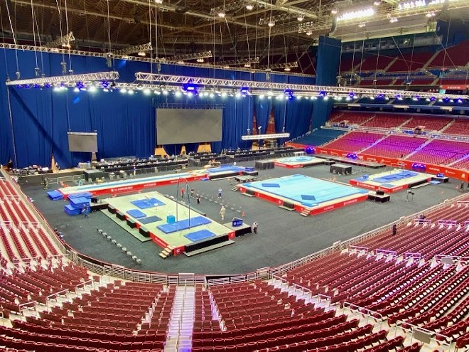 The floor of the Dome at America's Center is set up in the days leading up to the 2021 Olympic Team Trials. - COELI O'CONNELL