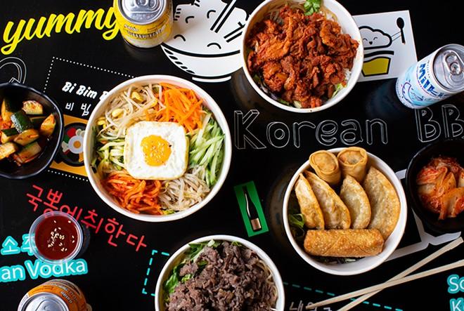 K-Bop's offerings include bibimbap, spicy pork bop, mandu, beef bop, kimchi and more. - MABEL SUEN