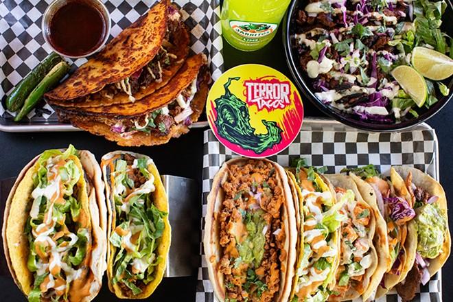 A selection of items from Terror Tacos: birria tacos, birria bowl, Behemoth taco, Double Diablo taco and Fright of Tacos. - MABEL SUEN