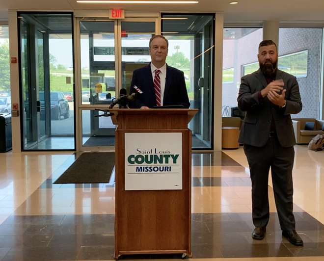 County Executive Dr. Sam Page at a press conference announcing vaccination initiatives on July 19, 2021. - SCREENSHOT