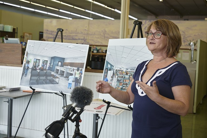 Executive Director Karen Lanter at a news conference announcing Feed My People's plans to renovate its food pantry. - MARY BUTKUS / FEED MY PEOPLE