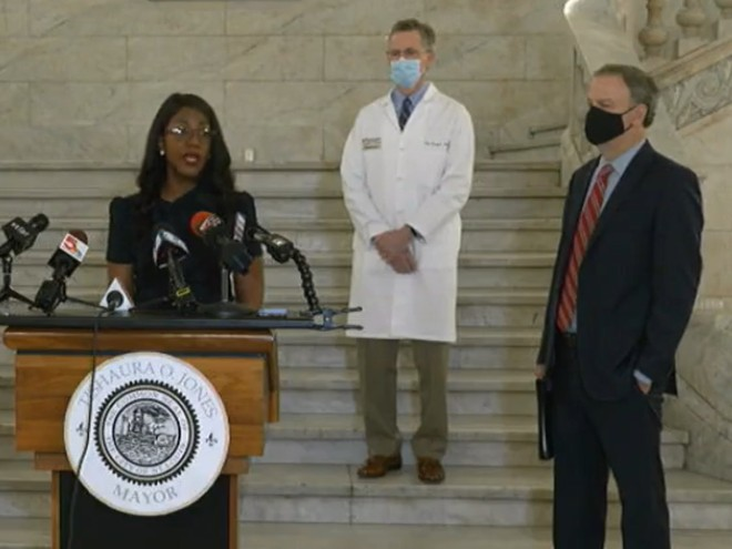 Mayor Tishaura Jones (left), Dr. Clay Dunagan (middle), and St. Louis County Executive Sam Page (right) answer questions at a press conference about the reinstated mask mandate. - SCREENGRAB FROM MAYOR TISHAURA JONES  / FACEBOOK LIVE