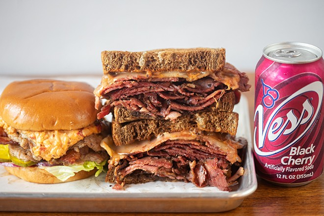 Nomad's Dumpster Fire and a pastrami sandwich. - MABEL SUEN
