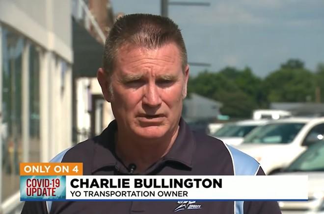 Charlie Bullington, owner of Yo Transportation, wants his riders to share his conspiracy theories. - SCREENSHOT VIA KMOV