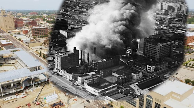 A composite photo of the 1976 Heyday fire with the area today, as featured in a new documentary on Escape from New York. - SCREENSHOT VIA YOUTUBE