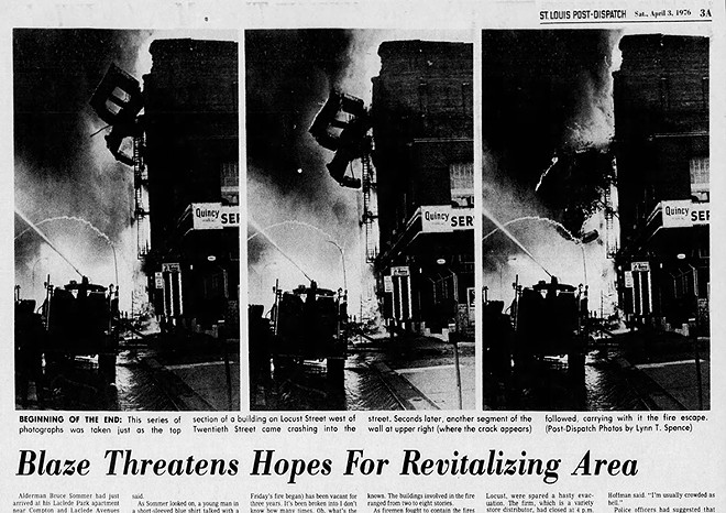 The Post Dispatch coverage 1976 blaze's destruction helped Gualdoni locate those same areas today. - CLIP VIA NEWSPAPERS.COM