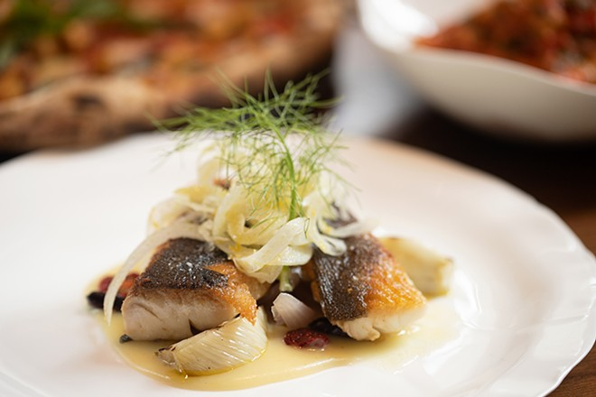 Classical cod and potato veloute with capers, taggia olives, cherry tomato, roasted red onion and fennel salad. - MABEL SUEN
