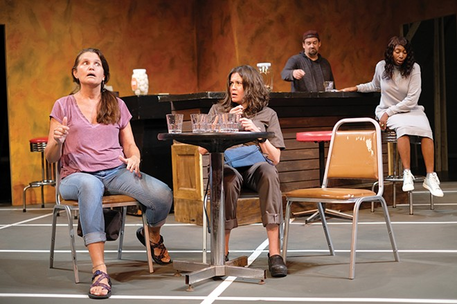 Amy Loui, left, who plays Tracey, sees parallels labor issues of Sweat and the pandemic's effect on the theater industry. - PHUONG BUI