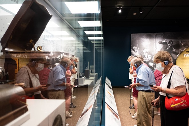 Viewers at the St. Louis Sound exhibit can listen and learn about various instruments and people that have contributed to the St. Louis music scene. - PHUONG BUI