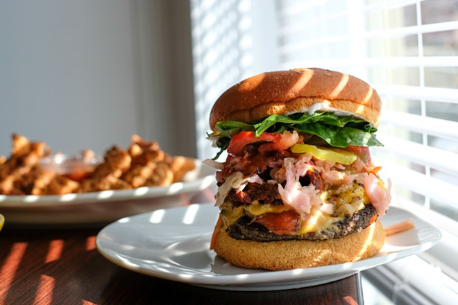 """The """"Double Trouble"""" burger features a beet burger patty and a BBQ eggplant-based patty. - PHUONG BUI"""