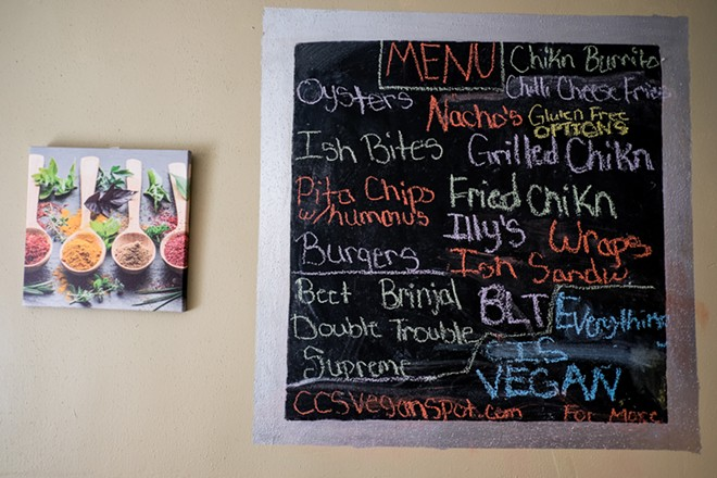 The menu at CC's Vegan Spot. - PHUONG BUI