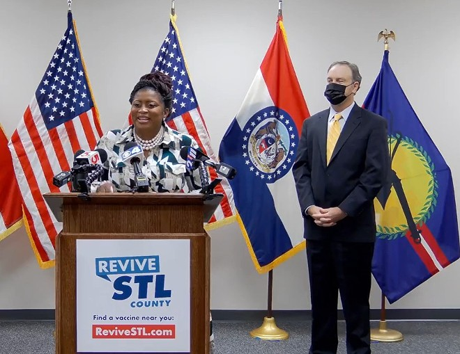 St. Louis County Councilwoman Shalonda Webb and St. Louis County Executive Sam Page announce the vaccine incentive program. - ST. LOUIS COUNTY EXECUTIVE SAM PAGE / FACEBOOK LIVE
